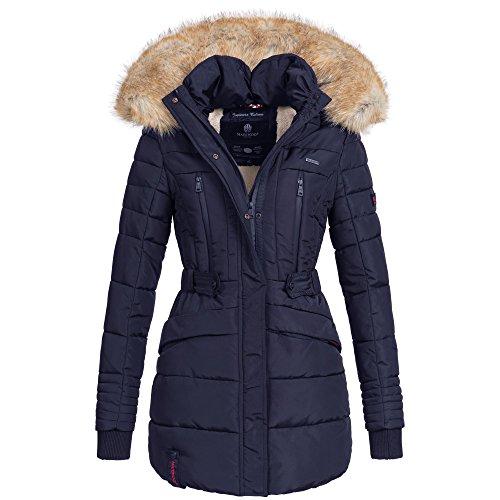 Marikoo NOVA Damen Mantel Wintermantel Steppjacke Winter Jacke lang XS-XXL 6Farben, Größe:XL / 42;Farbe:Navy