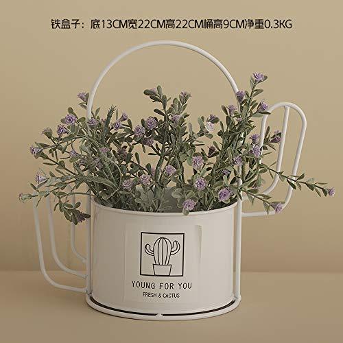 Sloybaden vaso di fiori in ferro battuto cactus fiori finti pianta decorativa fiore in vaso artificiale arredamento per la casa piccolo bonsai, kit bianco 3