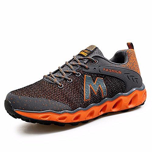 Sneakers Summer Fly Tessere Sneakers Traspirante Scarpe Casual Wear-Resisting Smorzamento Scarpe Running Versione Coreana Di Marea Di Moda Gray Orange