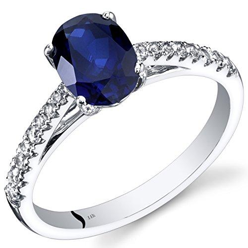 Revoni 14ct de oro blanco anillo de zafiro ovalado 1,50 quilates