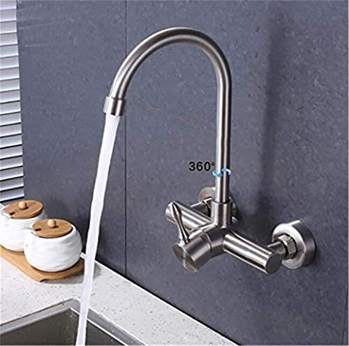 Wasserhahn Wall Mounted Kitchen Faucet 304 Stainless Steel Universal Cold and Hot Water Sink Tap Mixer Double Hole with Spray Head with Aerator Single Lever,E-D -