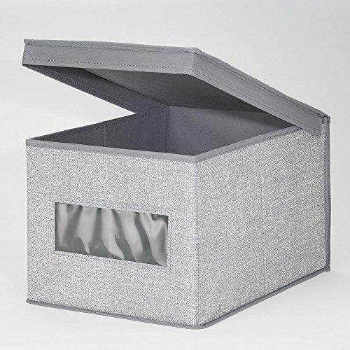 mDesign Caja organizadora de tela grande – Caja de tela con tapa para el armario del cuarto del bebé – Organizador de accesorios de bebé, ropa, sábanas, toallas, baberos, etc. – gris