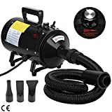 Voilamart 2800W Variable Speed Pet Dog Cat Grooming Hair Dryer, High Velocity Hairdryer Blaster Fur Blower with 2 Gear Temperature and Flexible Hose, Black