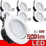 6x LED Einbaustrahler 230V Einbauleuchte Deckenleuchte 6W rund warmweiß IP20 500 Lumen weiß Aluminium Einbauspot Einbauleuchte Einbaulampe Deckenlampe Deckenstrahler