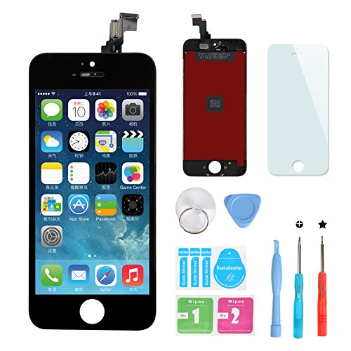 HSX_Z LCD The Touchscreen Bildschirm für Apple iPhone 5C Clock Glas Digitizer Glas Scheibe Komplettset Glas + Werkzeug + Along it schutzfolie(schwarz)