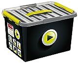 SUNWARE Q-Line Multi Media Box + 1 Einsatz - 22 Liter - 400 x 300 x 260 mm - schwarz/zitrone