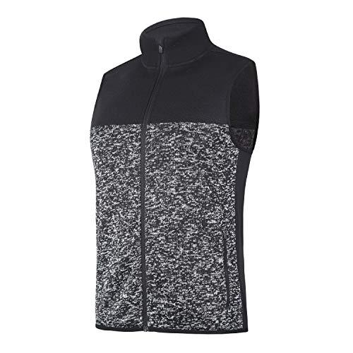 BEROY Herren Weste Jacke Full Zip Soft Sweater Fleece Weste ärmellose Jacke mit 2 Reißverschlusstaschen, Herren, Schwarz - Heather Black, Medium -