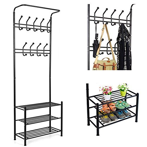 HOMFA Metal Coat Hat Rack Free Standing Clothes Stand with 18 Hooks and 3-Tier Shoe Rack Entryway Organizer Black
