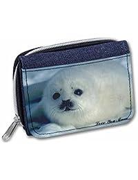 White Sea Lion 'Love You Mum' Girls/Ladies Denim Purse Wallet Christmas Gift Ide