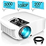 ELEPHAS Projector, 5000 Lumens HD Video Projector 200'' Home Cinema LCD Movie Projector Support 1080p HDMI VGA Av USB Ideal for Home Entertainment Party Games, White