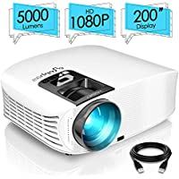 ELEPHAS Projector, 5000 Lumens HD Video Projector 200'' Home Cinema LCD Movie Projector Full HD 1080p HDMI VGA Av USB Ideal for Home Entertainment Party Games, White