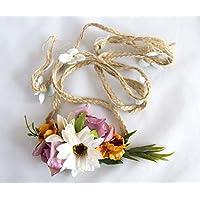 Cinturón de cuerda con flores moradas, naranjas y blancas. Envío GRATIS 72h