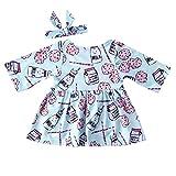 ღ 2018 UOMOGO Royal Arcobaleno Vestito Cotone Manica Corta Floreale Abito Principessa Casual Vestiti Bambina + Fascia per capelli - 3 a 24 Mesi, 70-100 cm