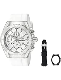 Technomarine Men's Quartz Watch with Silver Dial Analogue Display and White Silicone Strap TM-115043