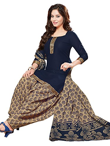 PShopee Navy Blue & Cream Cotton Printed Unstitched Patiala Salwar Suit Material