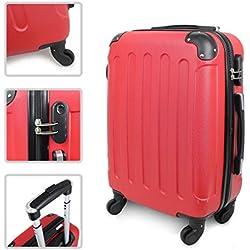 Todeco - Valise à Main, Bagage pour Cabine - Taille (roues incluses): 56 x 38 x 22 cm - Taille intérieure: 49 x 35 x 21 cm - Coins protégés, Bagage de cabine 51 cm, Rouge, ABS
