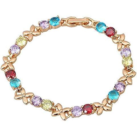 Alta calidad Multicolor Redondo Swiss Cz Piedras Cluster bañados en oro 18K pulseras pulseras & Fashion Jewelry 17cm degradado
