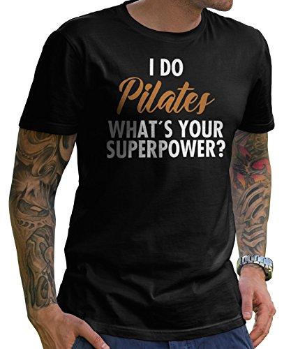 Stylotex Herren T-Shirt Basic Pilates Super Power , Farbe:schwarz;Größe:XXL