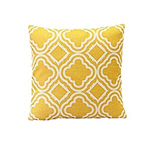 Ambrelia - Federa copricuscino, in lino e cotone, 45 x 45 cm, motivo tartan, colore giallo