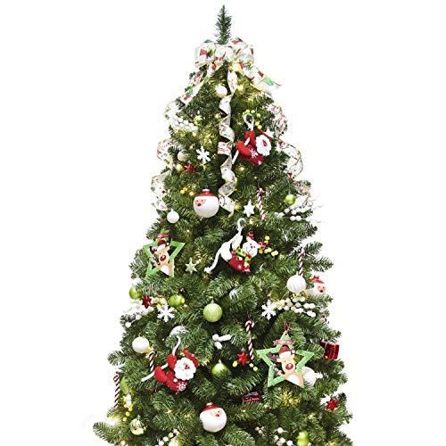 Busybee albero di natale artificiale con set di ornamenti di decorazione (carino rosso verde e bianco, 180cm)