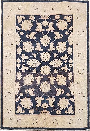 Smart Deal Traditionelle handgeknüpfte Moderne Chobi-Teppiche Blau/Gold Farbe 100% Wolle Perserteppiche Größe (74 x 122) -