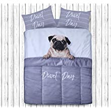 Sleepdown Daytime Pug Animal Print 3D Design Duvet Cover Quilt Bedding Set with Pillowcases (Single)