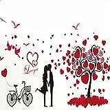 Cosanter Wandtattoo Herz Baum Liebe Wandaufkleber Baum Familienbaum Wandsticker Wall Sticker Wohnzimmer Schlafzimmer Deko für Liebhaber