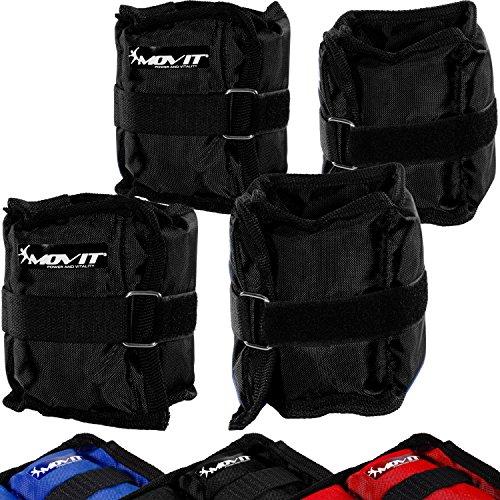 MOVIT 4er Set Gewichtsmanschetten, 2 x 500g und 2 x 1000g Laufgewichte für Fuß- und Handgelenke in 3 Farbvarianten Schwarz