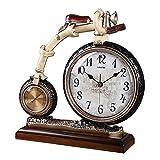 ALUK- Horloge De Table De l'horloge Pendulaire De Vélo Créatif Européenne Salon De La Salle De Séjour Étude De Bureau De l'art De La Mode (Couleur : Jaune Clair)