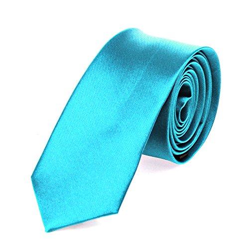 Schmale dünne Krawatte 5cm handgenäht Polyester (türkis-uni)