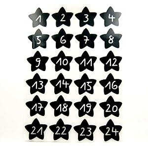 Bügelbilder-Set, 24 Motive je4,8x4,3cm, Motiv: Adventskalenderzahlen 1-24 zum bügeln, Farbe: schwarz, heißsiegelfähige Flockfolie auf Basis von Viskosefasern