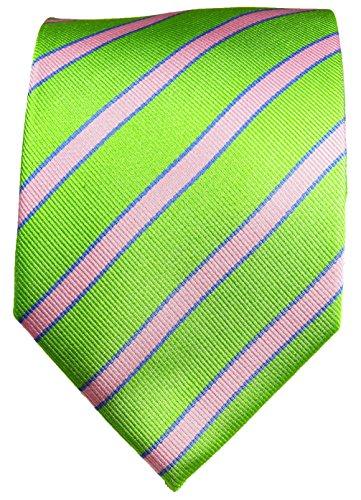 Cravate homme rose vert rayée 100% soie