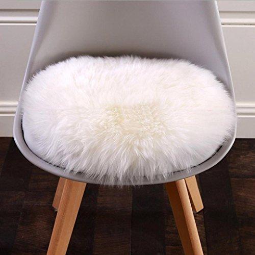30cm * 30cm Runde weiche künstliche Wolle Haarige Sitz Pad Upxiang Stuhl Abdeckung Fenster Pad Teppich (Weiß/45cm)