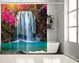 Positive Home Colorful Autumn Trees Waterfall Sunlight in Forest Erawan National Park in Kanchanaburi Thailand Teal Fuchsia Shower Curtain 70