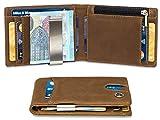 Geldbeutel mit Geldklammer und Münzfach - TÜV geprüft RFID Schutz 8 Kartenfächer - Ideal als Geschenk für Herren - Geldbörse braun mit Edler Geschenkbox – Eagle