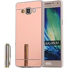 Semoss Lusso Ultra Slim Thin Bling Strass Custodia Specchio in TPU Silicone per Samsung Galaxy A5 2015 Mirror Protettivo Metallo Bumper Cover Rigida - Rose