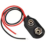 Hilai 1pc Black Red Short Cable Connection 9 V batería Clip Hebilla Conector