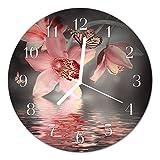 DekoGlas Glasuhr 'Orchidee rosa' Uhr aus Acrylglas, rund große Motiv Wanduhr Ø30 cm, lautlos für Wohnzimmer & Küche