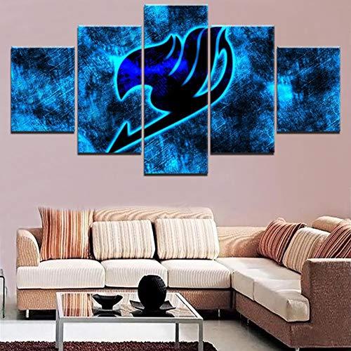 XLST Moderne Wohnkultur Wohnzimmer Wandkunst Poster Hohe Qualität Leinwanddruck Malerei 5 Panel Anime Fairy Tail Logo Modular Pictures,A,20x35x2+20x45x2+20x55x1 2 X 20 Panel