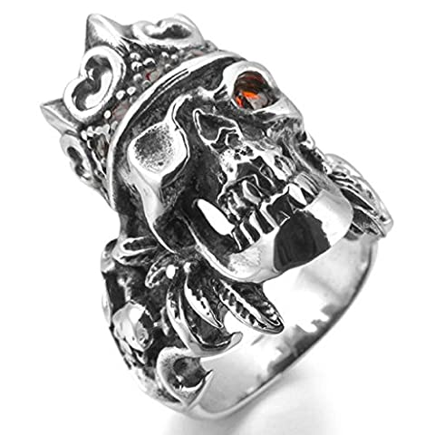 Epinki,Men's Stainless Steel Rings CZ Silver Black Red Shield Royal King Crown Feather Gothic Size T 1/2
