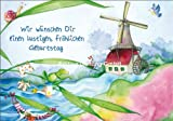 Doppelkarte mit Umschlag NINA CHEN * Frosch und Mühle * Geburtstag