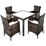 ESTEXO® Polyrattan-Sitzgruppe für 4-8 Personen, Rattan Sitzgarnitur, braun, grau, Gartenmöbelset, wetterfest, Essgruppe (4 Stühle, Braun)