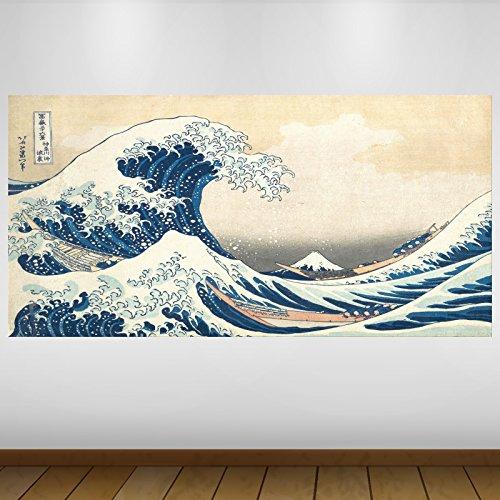 EXTRA GRANDE Las ondas blanco Japón clásico Resumen de vinilo Póster - Mural Decoración - etiqueta de la pared -140cm x 70cm
