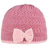 Lipodo Twotone Mädchen Strickmütze mit Schleife Beanie Mütze Wintermütze Kindermütze Kinder - Futter Herbst-Winter - One Size rosa