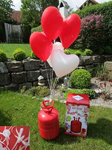 Ballongas ca 50 Luftballons Einweg Heliumflasche Folienballons Herzballon ()