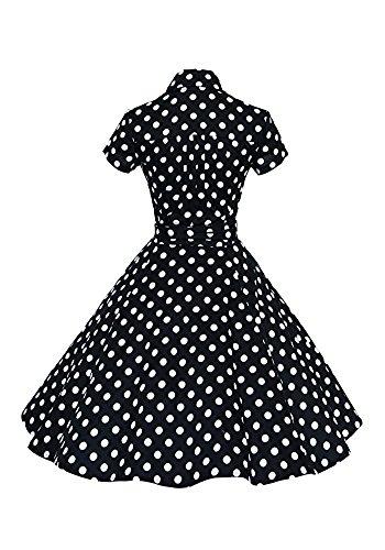 Minetom Femme Vintage 1950's Audrey Hepburn Robe de Soirée Cocktail Année Col en V Manches Courtes Bowknot Tunique Robes Noir Polka Dot