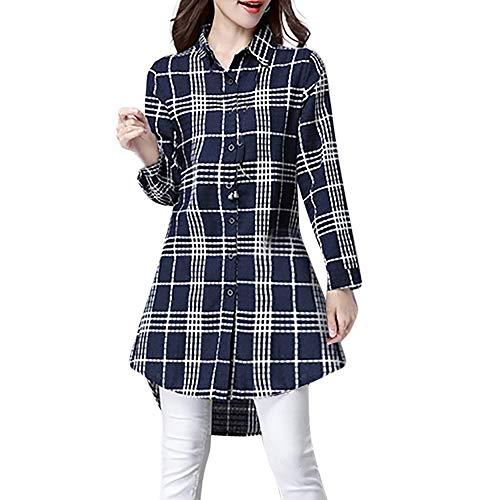 Plus Size Women's Long Sleeve Plaid Print Cotton and Linen Loose Blouse T-Shirt Coats for Women Coats and Jackets Womens Winter Coats Women's Coats White Blouse t Shirts Womens Winter Coats