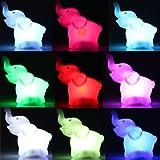 Ecloud Shop Kinder Leuchte BABY LED Nachtlicht Kinderlampe Elefant Motiv mit Farbwechsel