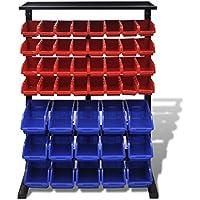 Festnight Organizador de Herramientas para Taller Azul Rojo 83 x 24,5 x 115,5 cm Largo x Ancho x Alto