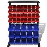 Festnight Werkstattboxen mit Ständer Sichtboxen Regale Werkstattwandregal Werkstatt Aufbewahrung Blau & Rot